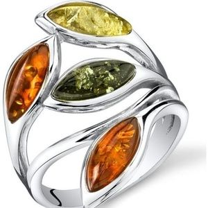 Women's Silver Amber Leaf Ring